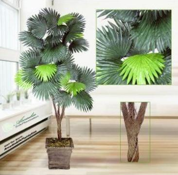 Planta artificiala copac 180 cm Fan Palm x3 Silk Plant