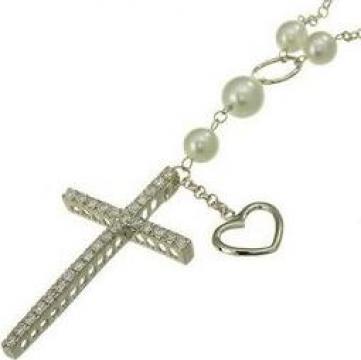 Colier din argint cu perle, inimioara si cruce de la Argintarie.ro