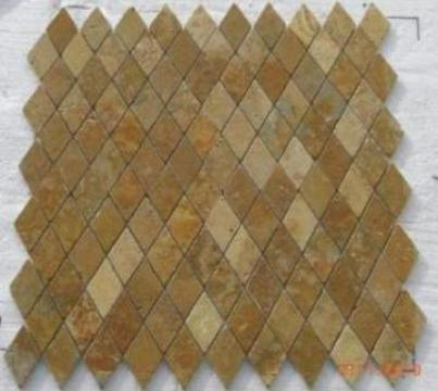 Mozaic travertin galben Tumbled Diamond 1x4.8x4.8 cm de la Geo & Vlad Com Srl