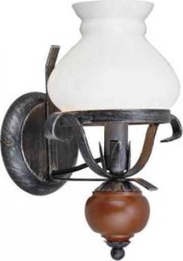 Aplica rustica fier forjat Rustic 1x60W lemn maro opait opal de la Super Eco - Casa Srl.