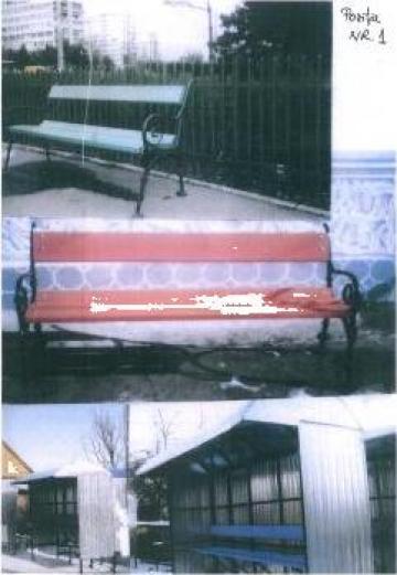 Banca din lemn cu spatar de la Nord Metal Srl