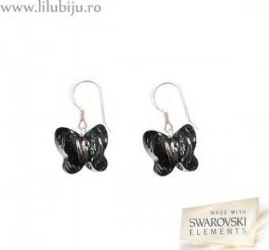 Cercei Swarovski Elements - fluturi mici silver night de la Lilu Biju