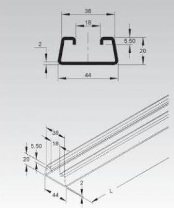 Profil C 44x20x2mm de la Niedax Srl