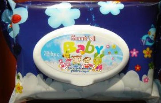 Servetele umede pentru copii 72 de buc. cu capac plastic de la Flm Group Invest