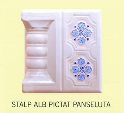Cahle Stalp + placa soba Alb Panseluta Pictat de la Fancris Srl