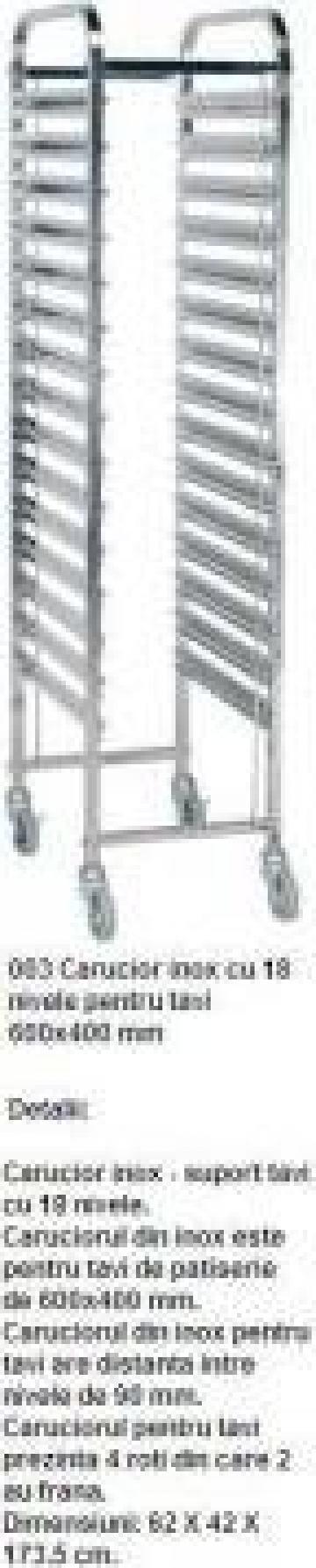 Carucior inox cu 18 nivele pentru tavi de la Inox Production Line