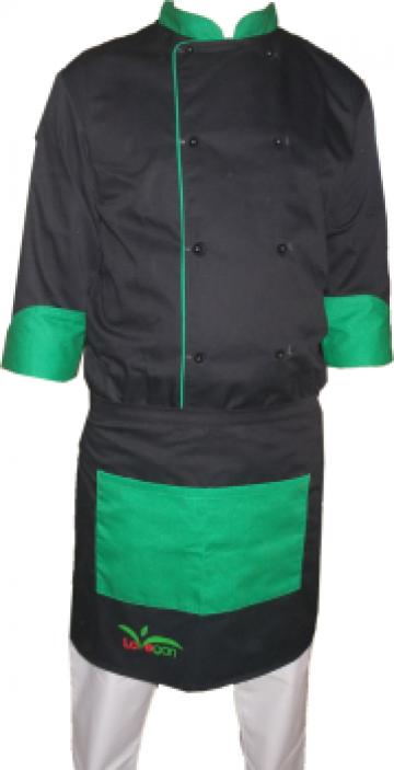 Costum pentru bucatar negru cu insertie verde de la Johnny Srl.