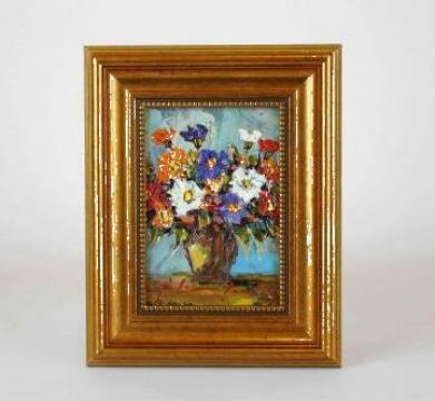 Tablou pictat in ulei anemone de la Frameart Decor Srl.