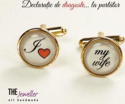 Butoni personalizati placati cu aur, I love My Wife