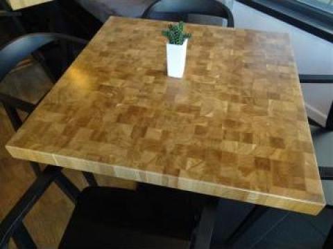 Mese lemn masiv restaurant End Grain de la Woodex Srl