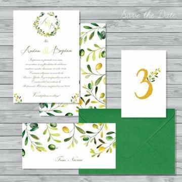 Invitatie nunta Olive watercolor de la