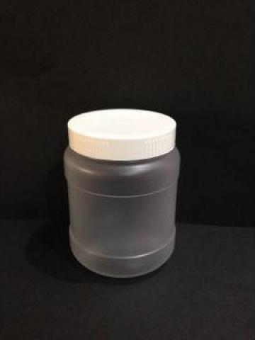 Borcan transparent/alb 300ml cu capac fi 66 alb/galben de la Vanmar Impex Srl