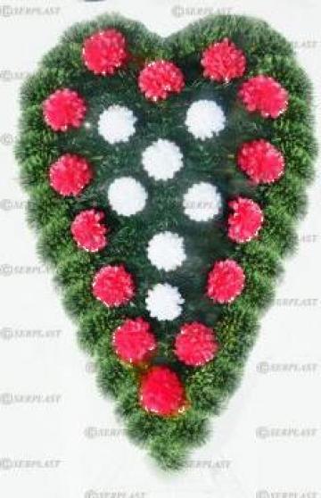 Coroana funerara brad&pin artificial impodobit simplu inima de la Serplast Srl