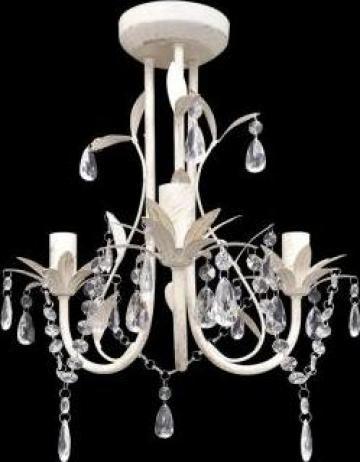Candelabru elegant cu cristale, alb de la Vidaxl