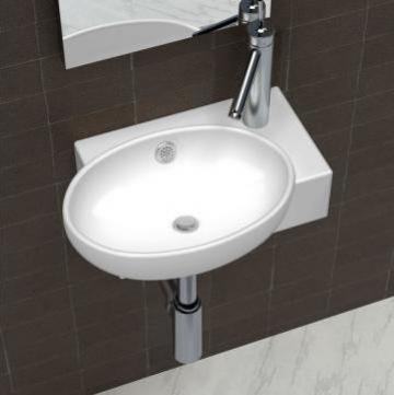 Chiuveta din ceramica pentru baie, alb de la Vidaxl