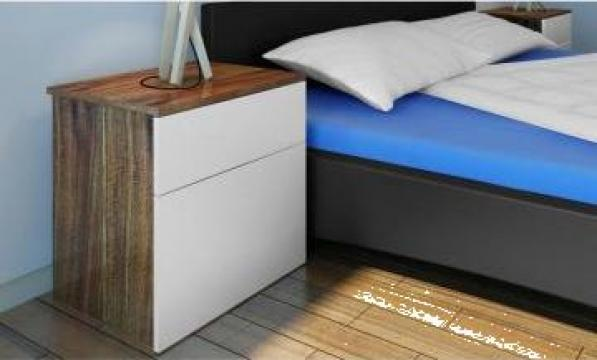 Noptiera dormitor cu 1 sertar masuta maro / alb de la Vidaxl
