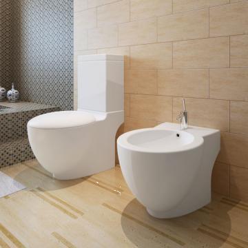 Set toaleta si bideu ceramica alb de la Vidaxl