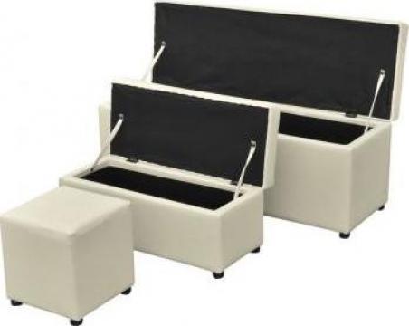 Cufar din piele artificiala alb cu scaunel set 3 buc.