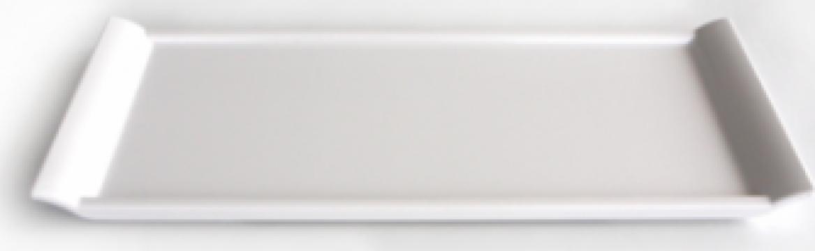 Tava servire melamina Raki 15x35x1cm alb de la Basarom Com