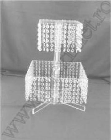 Suport patrat tort, 2 nivele si cristale acrilice SPEV 31.3
