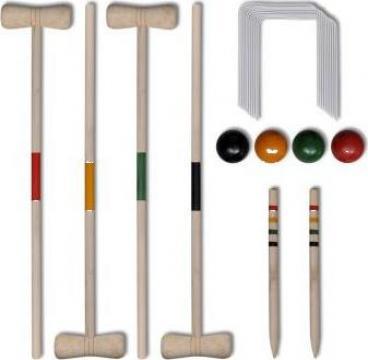 Set de crochet din lemn pentru 4 jucatori de la Vidaxl