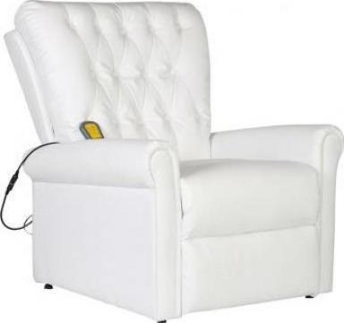 Fotoliu de masaj electric, piele artificiala, alb de la Vidaxl