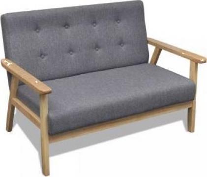 Canapea retro din lemn, gri de la Vidaxl