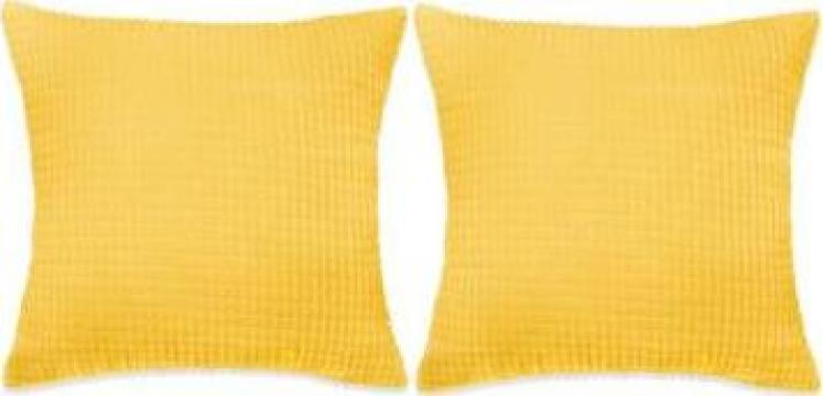 Set perne decorative 2 buc. Velur 45 x 45 cm galben