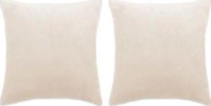 Set perne decorative 2 buc, velur 60 x 60 cm, ivoar