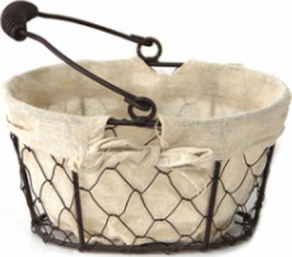 Cos paine oval Raki, metal manere lemn si panza 16x11xh10cm de la Basarom Com