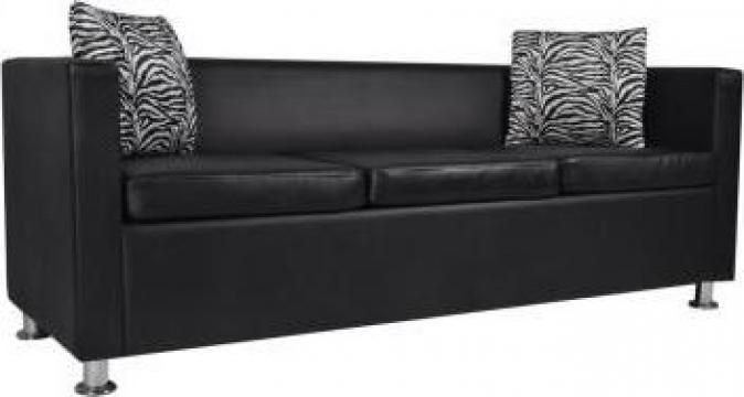 Canapea cu 3 locuri, piele artificiala, negru de la Vidaxl