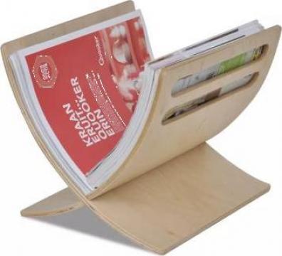 Suport din lemn pentru reviste, vertical, natural de la Vidaxl