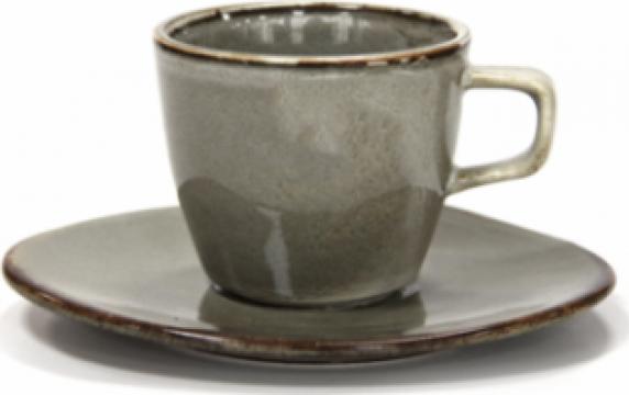 Ceasca cu farfurioara Antique Grey portelan 220ml de la Basarom Com