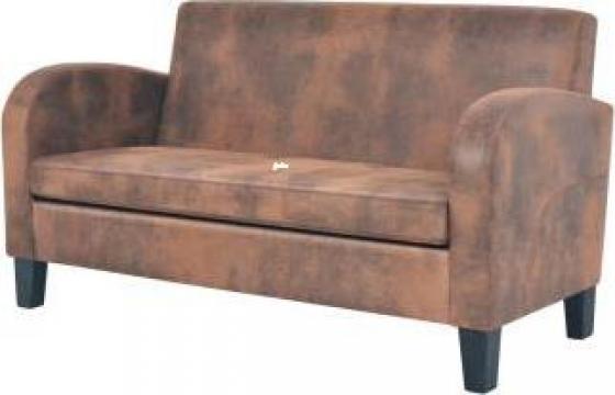 Canapea cu 2 locuri, velur artificial, maro de la Vidaxl