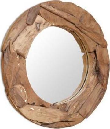Oglinda decorativa Lemn de tec 80 cm Rotunda de la Vidaxl