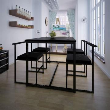 Set masa si scaune de bucatarie, negru, 5 piese de la Vidaxl