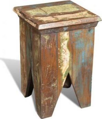 Taburet, lemn reciclat, stil antic