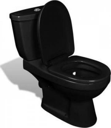Toaleta cu rezervor negru de la Vidaxl