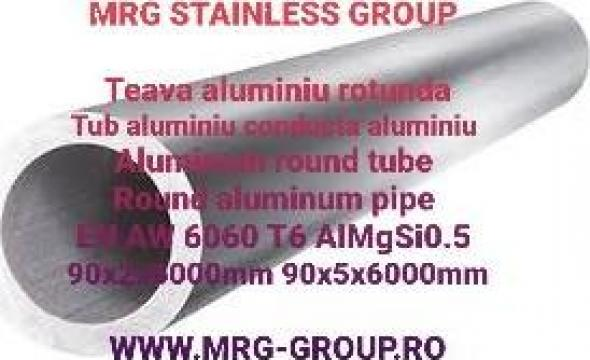 Teava aluminiu rotunda 90mm, conducta tub, inox, cupru alama