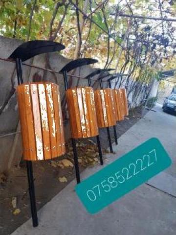 Cos de gunoi din lemn de fag tratat de la Moblux Stradal SRL