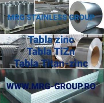 Tabla zinc, banda zinc rulou titan-zinc TiZn minim 99.99% Zn de la MRG Stainless Group Srl