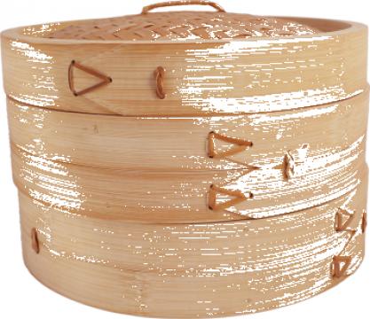 Steamer din bambus cu 2 niveluri format din 3 piese de la Expert Factor Foods Srl