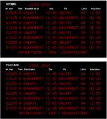 Tabela electronica pentru informare pasageri cu mers tren