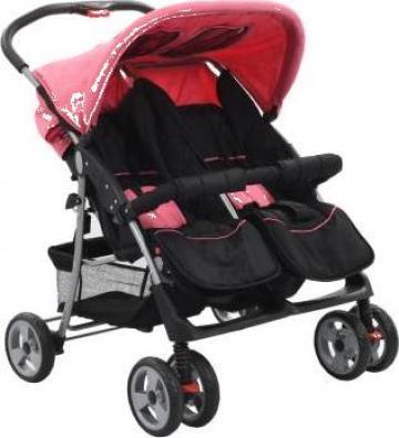 Carucior dublu pentru copii, roz si negru, otel