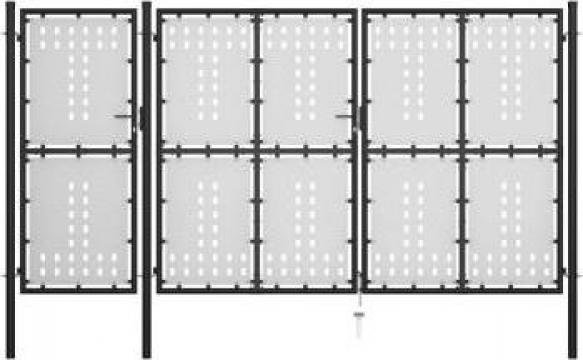Poarta de gradina, negru, 400 x 150 cm, otel de la Vidaxl
