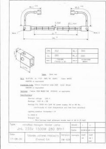 Lampa tubulara halogena JK1219 JHL 235V 1500W 280 BfH1 de la Sfera Global Trading Srl