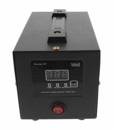 Stabilizator automat de tensiune cu releu 500VA, negru Well