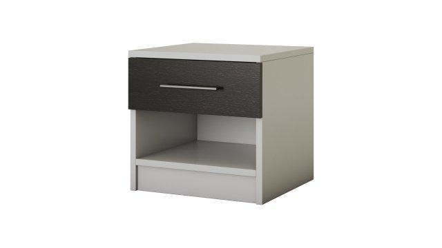 Noptiera Beta, alb/wenge, 45x44x42 cm de la CB Furniture Srl