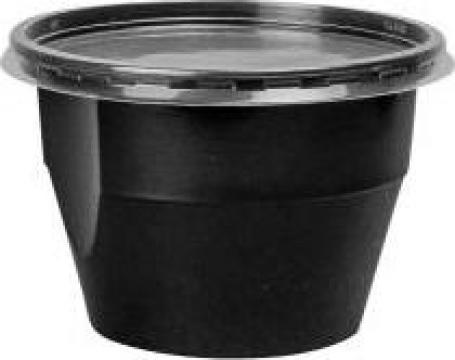 Bol supa negru PP 680ml + capac transparent 450 buc/bax de la Cristian Food Industry Srl.