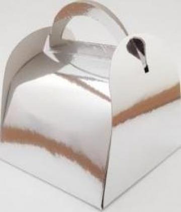 Cutie argintie prajituri 12x12x12,5cm 25 buc/set de la Cristian Food Industry Srl.